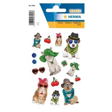 Herma lisanslı Etiketler Şapkalı Köpekler Renkli
